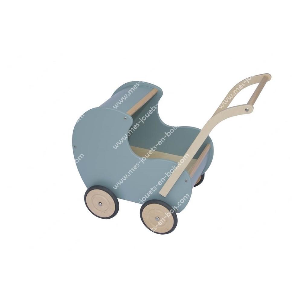 Landau de poupée bleu en bois pour bébé