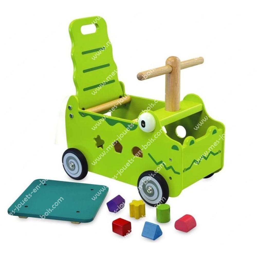 Chariot de marche-trotteur porteur 2 en 1 croco vert en bois pour bébé