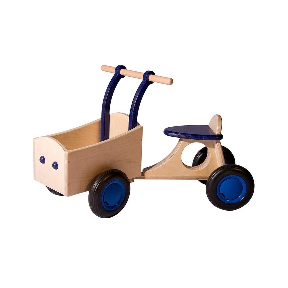 Porteur en bois pour bébé - Cargo bleu
