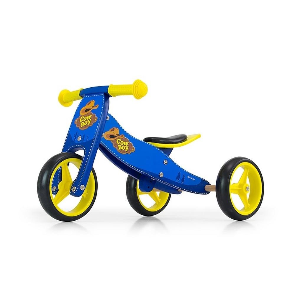 Tricycle et draisienne 2 en 1 évolutif en bois pour bébé - Rapido bleu