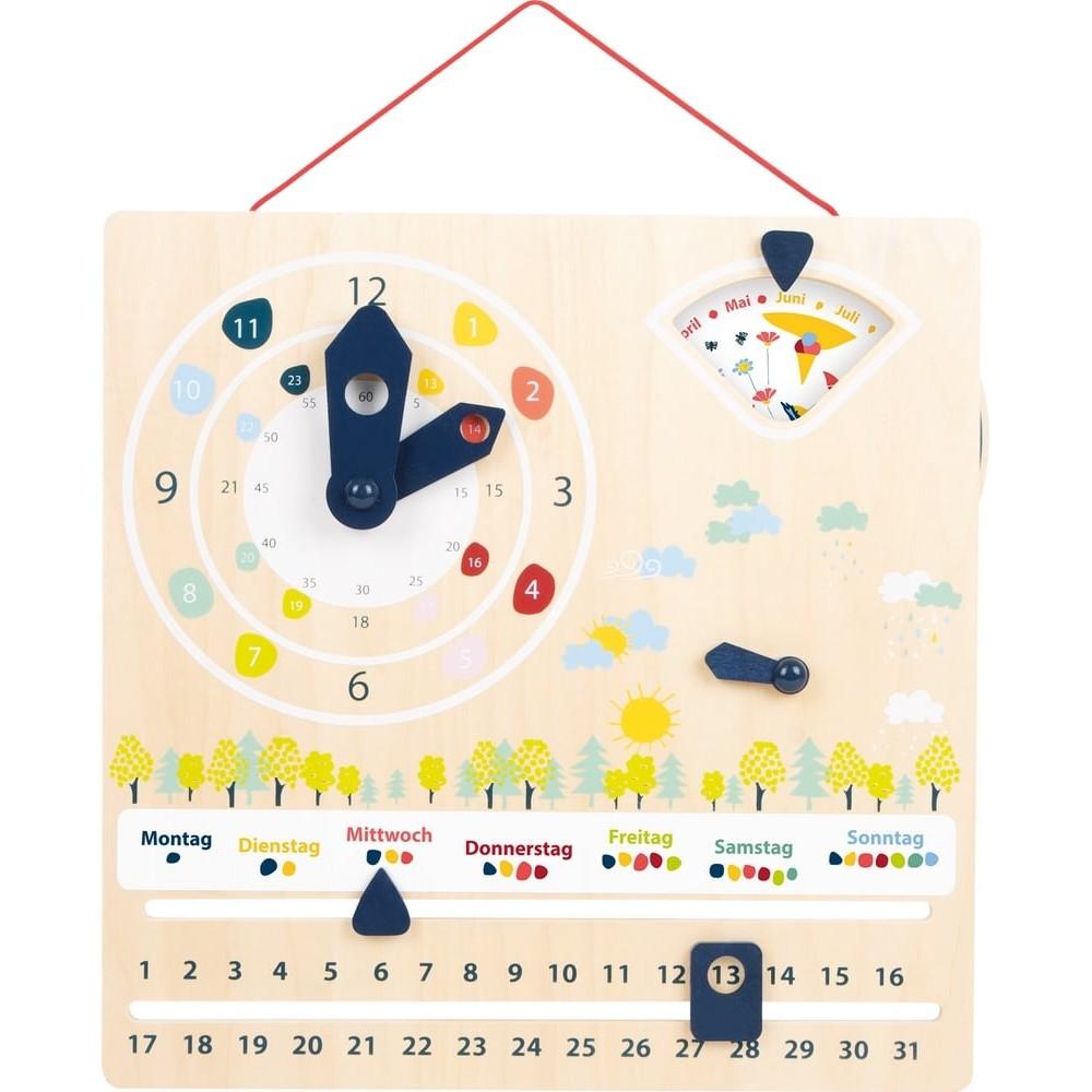 Calendrier et horloge éducatifs en bois