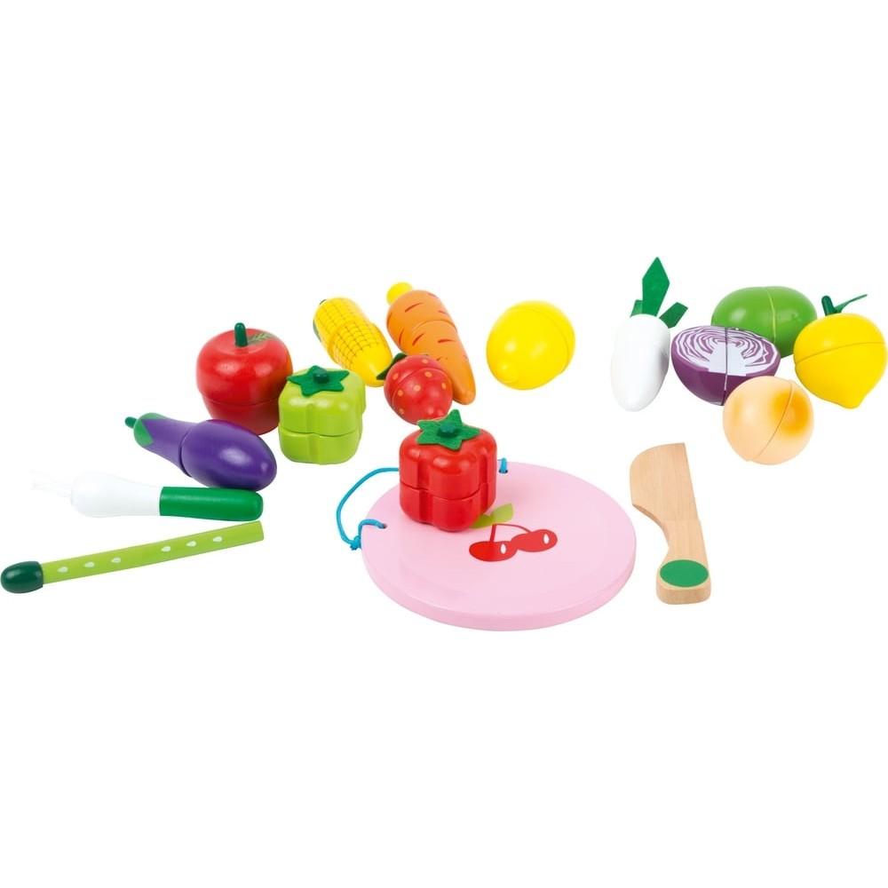 Fruits et légumes en bois à découper
