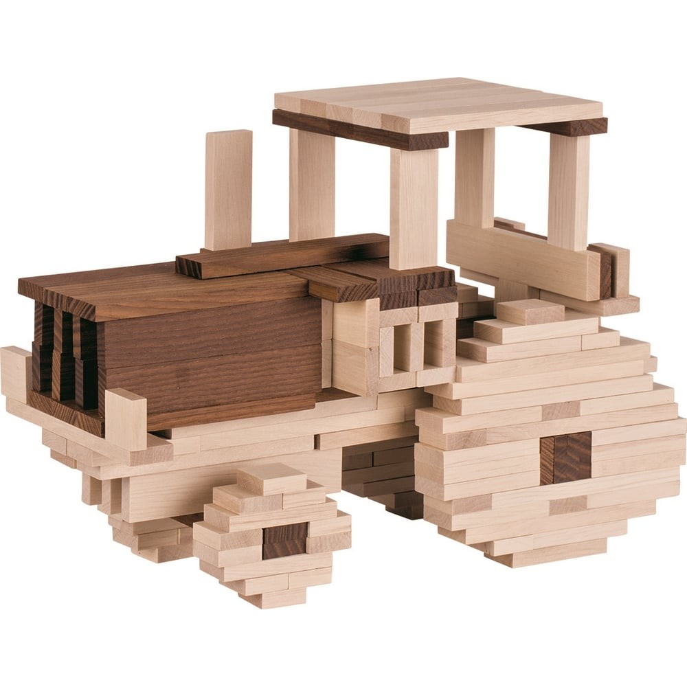 Jeu de construction en bois - Couleurs naturelles