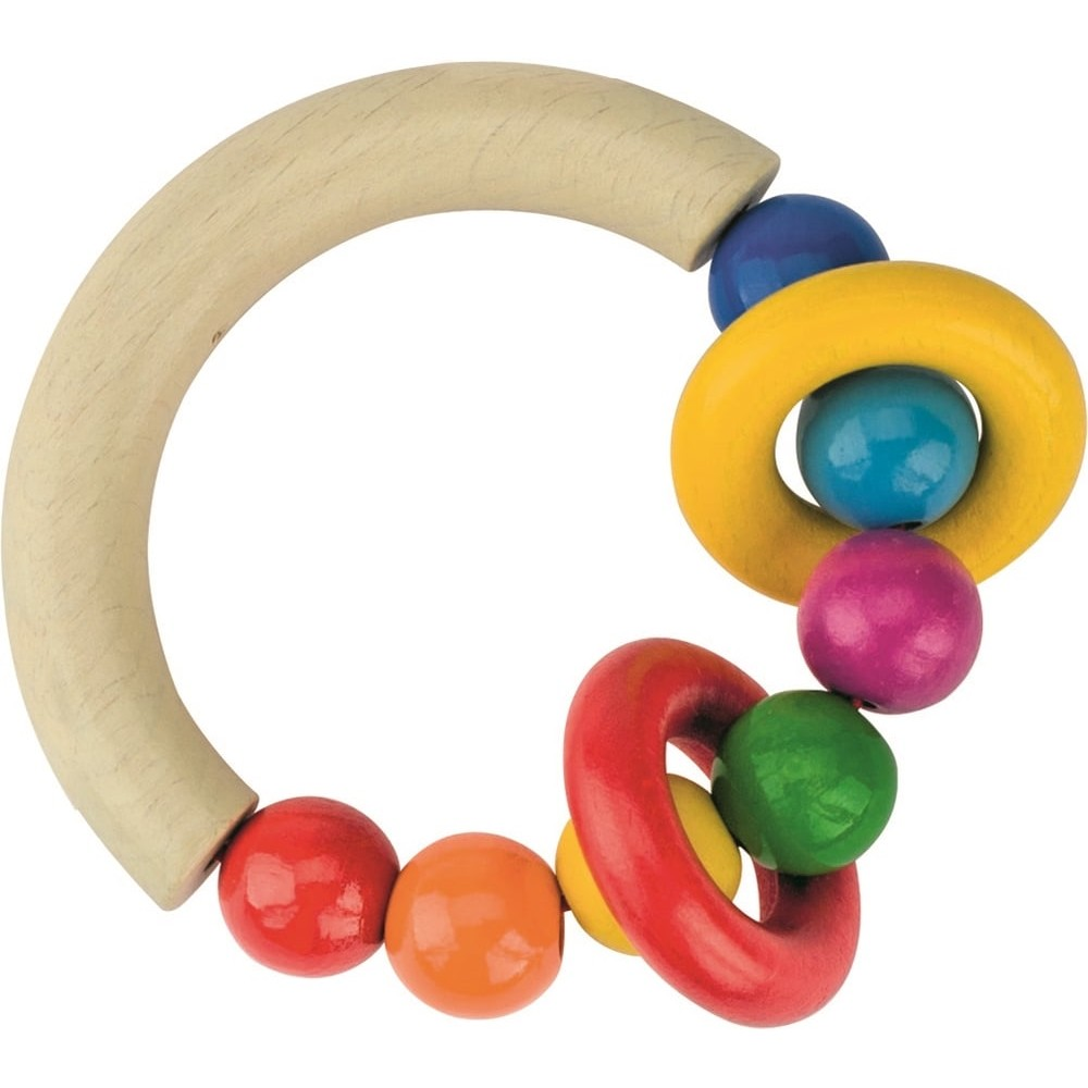 Hochet anneau semi-rigide en bois - Arc en ciel