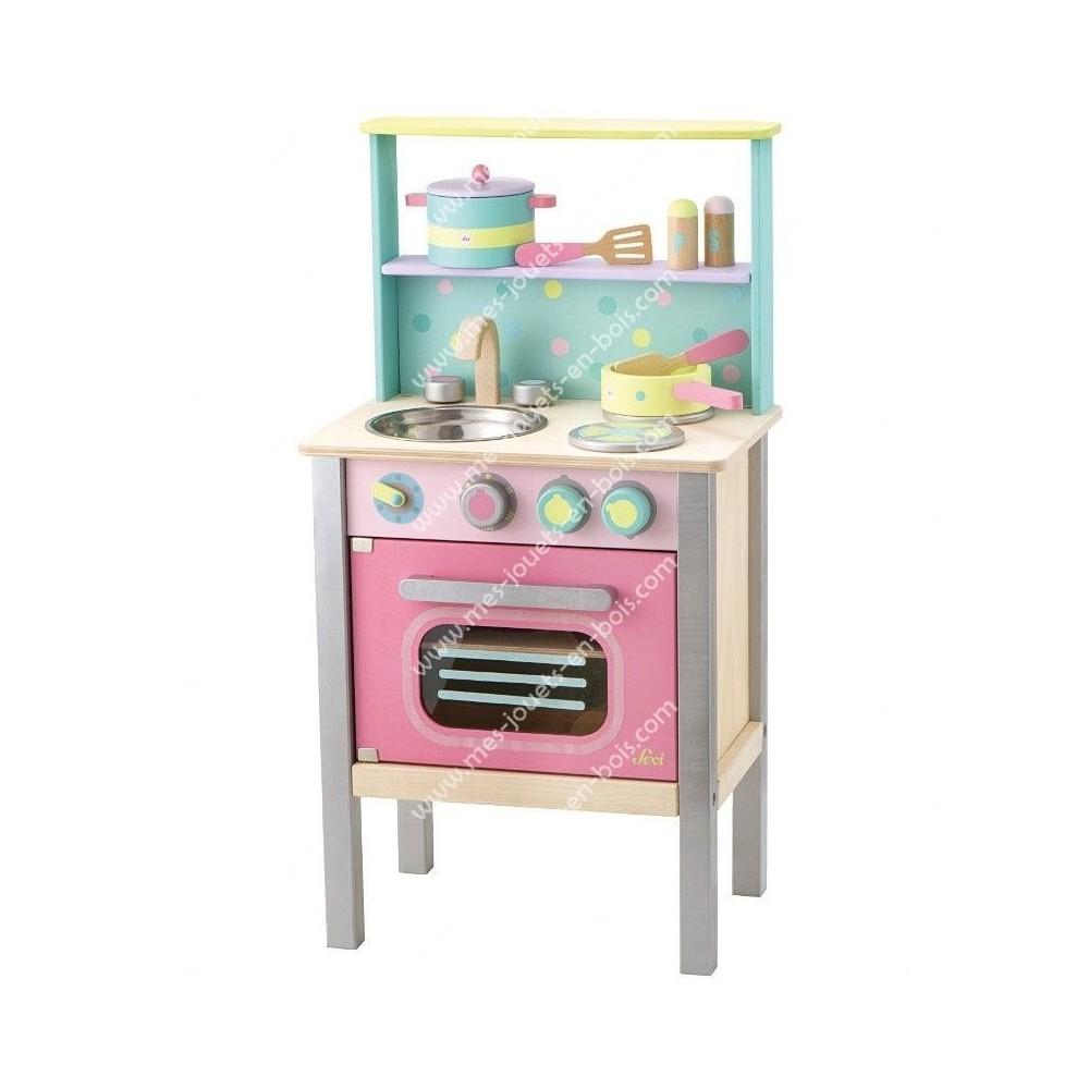 Cuisine en bois tons pastel avec four pour enfant