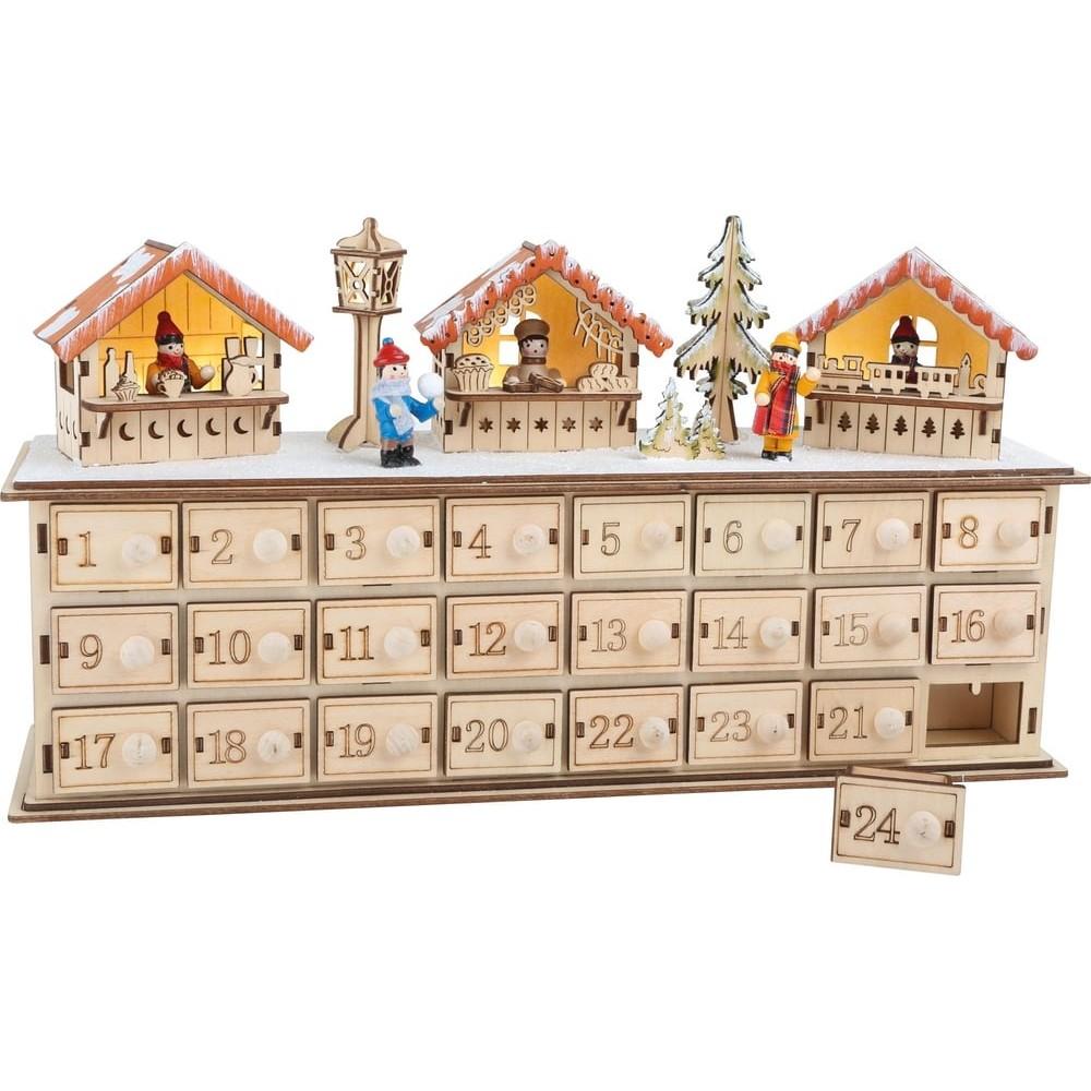 Calendrier de l'Avent Marché de Noël en bois