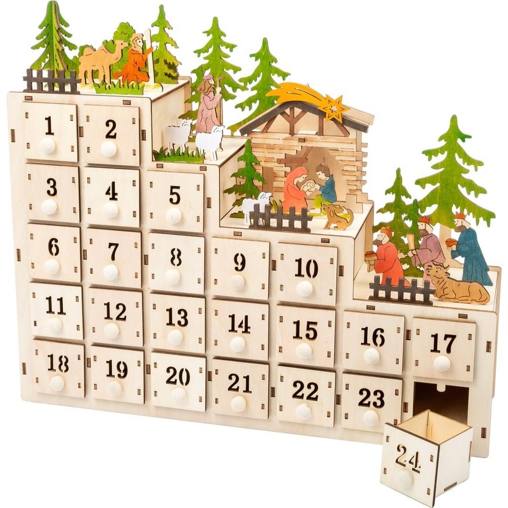 Calendrier de l'Avent en bois - Crèche de Noël