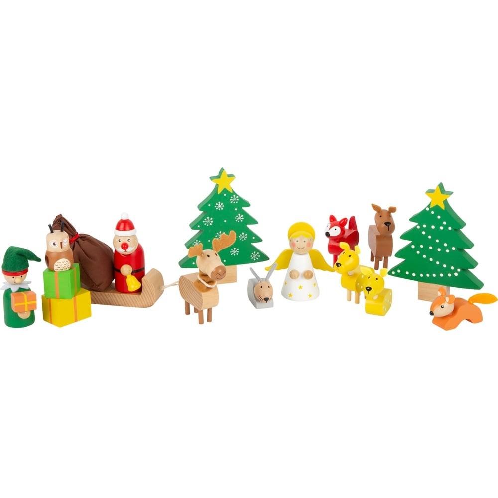 Set de jeu Noël des animaux de la forêt en bois