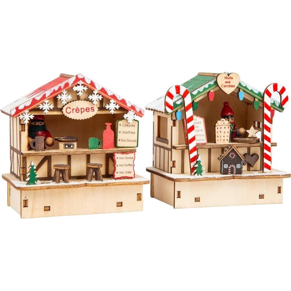 Cabanes Marché de Noël Crêpes et Bonbons en bois