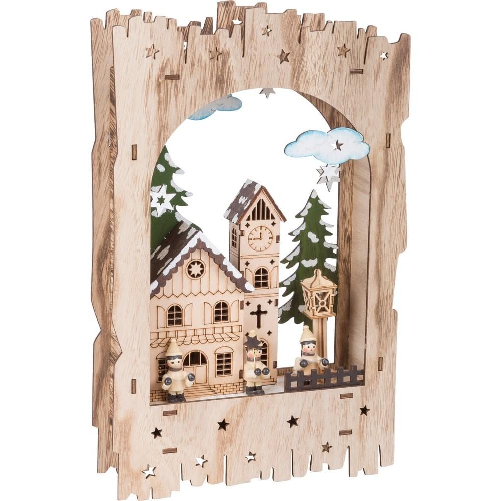Lampe en bois - Paysage hivernal sous l'arc