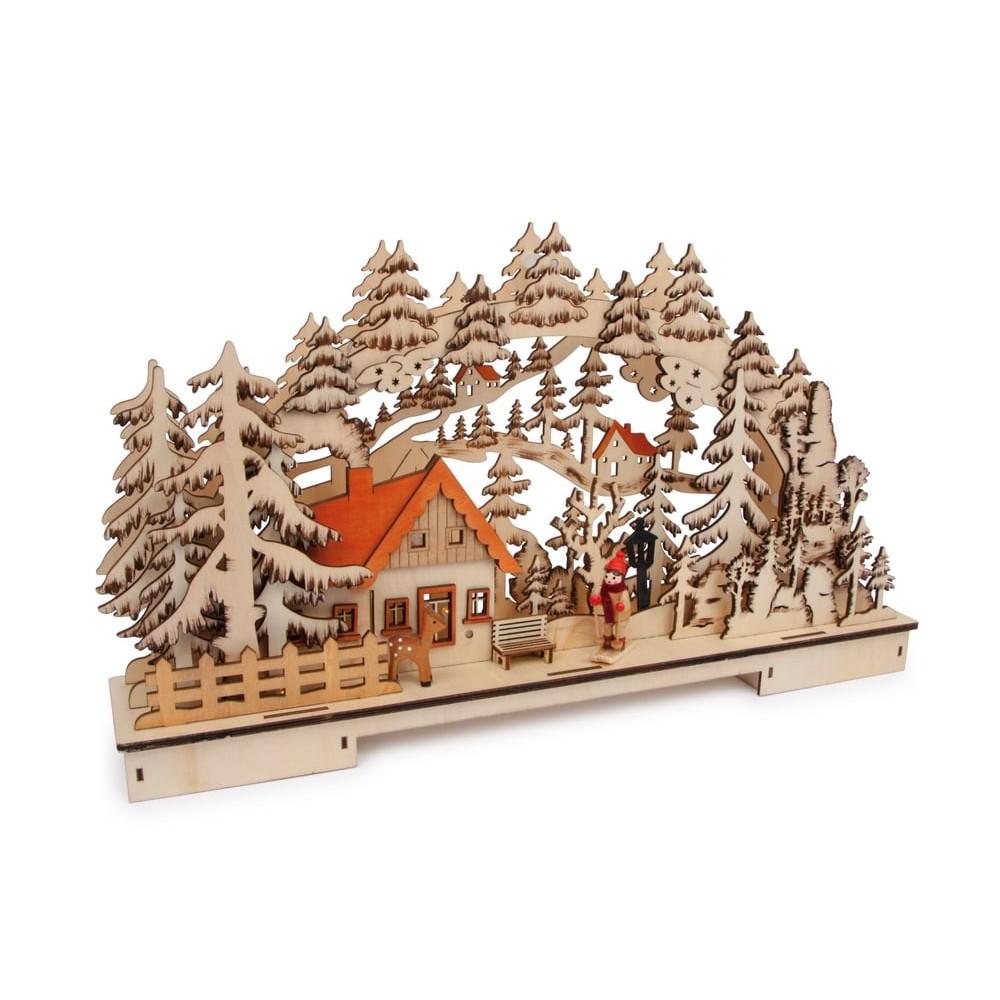 Lampe en bois - Paysage forestier