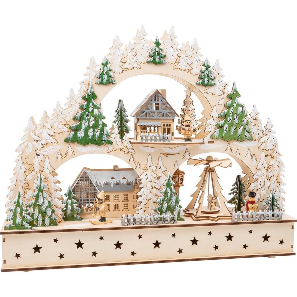 Arc lumineux en bois - Village d'hiver