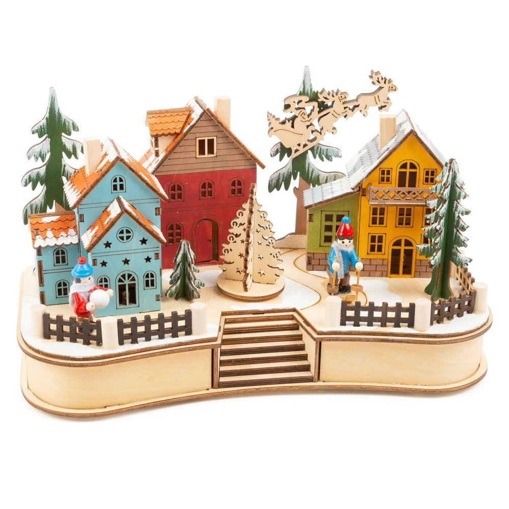 Lampe en bois - Village de Noël