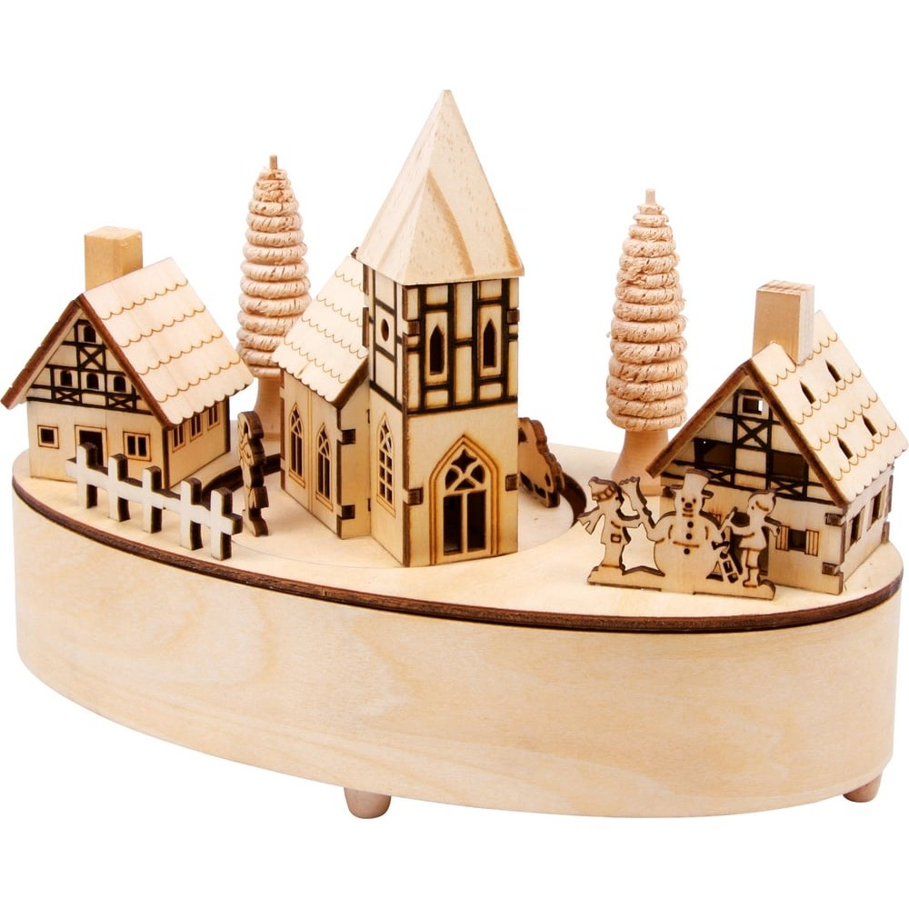 Boîte à musique en bois - Petit village