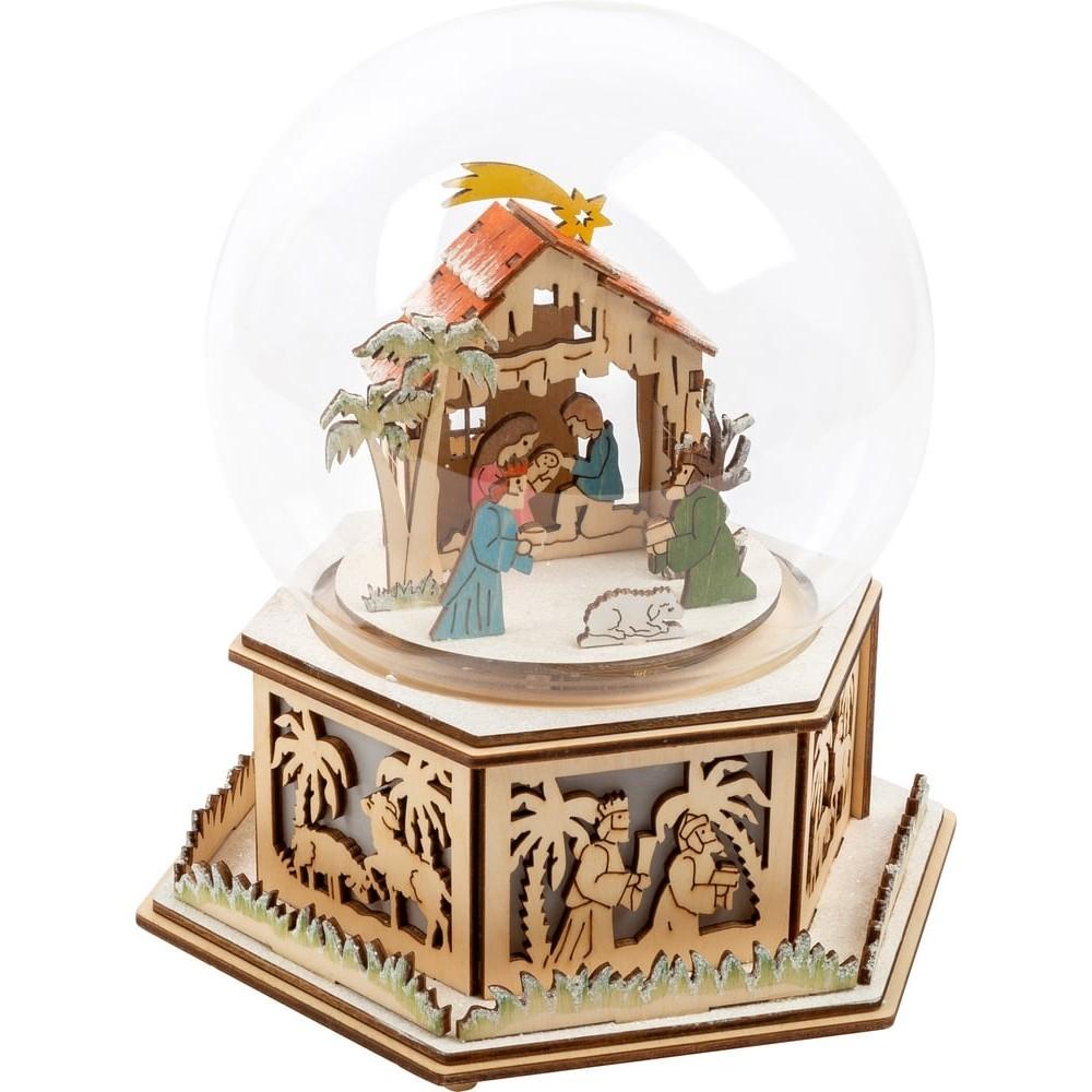Cloche lumineuse avec boîte à musique en bois - Crèche