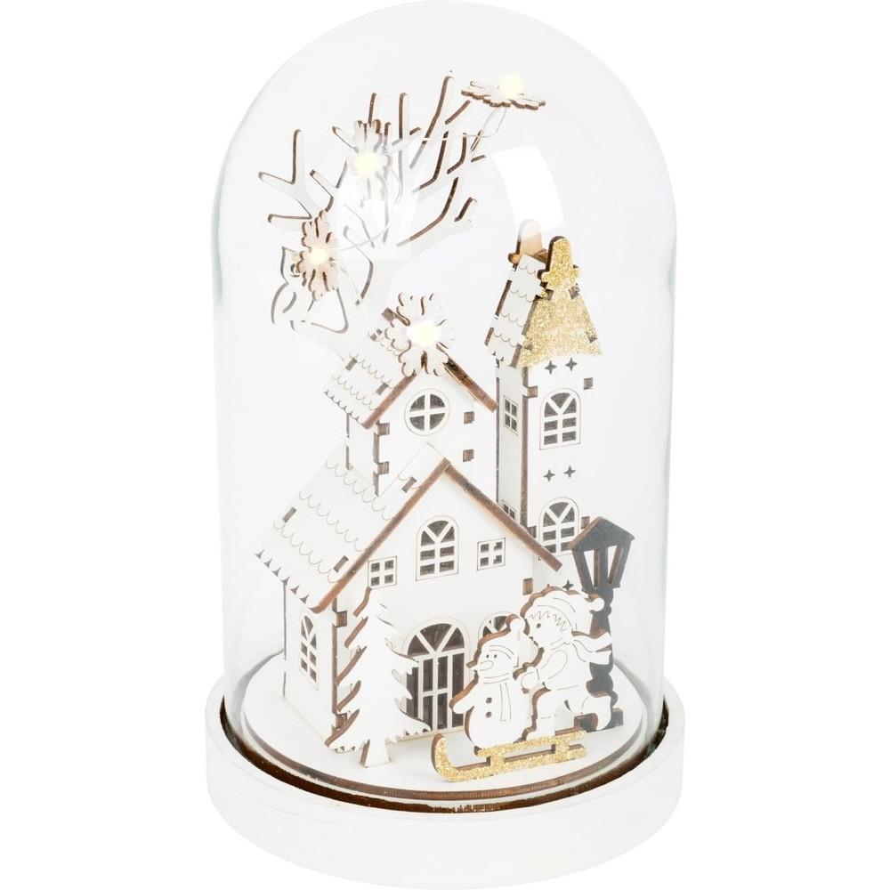 Cloche lumineuse en bois - Magie de Noël
