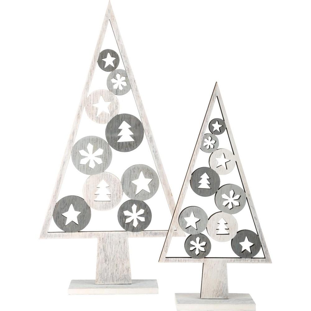 Arbre de décoration en bois - Motif de Noël