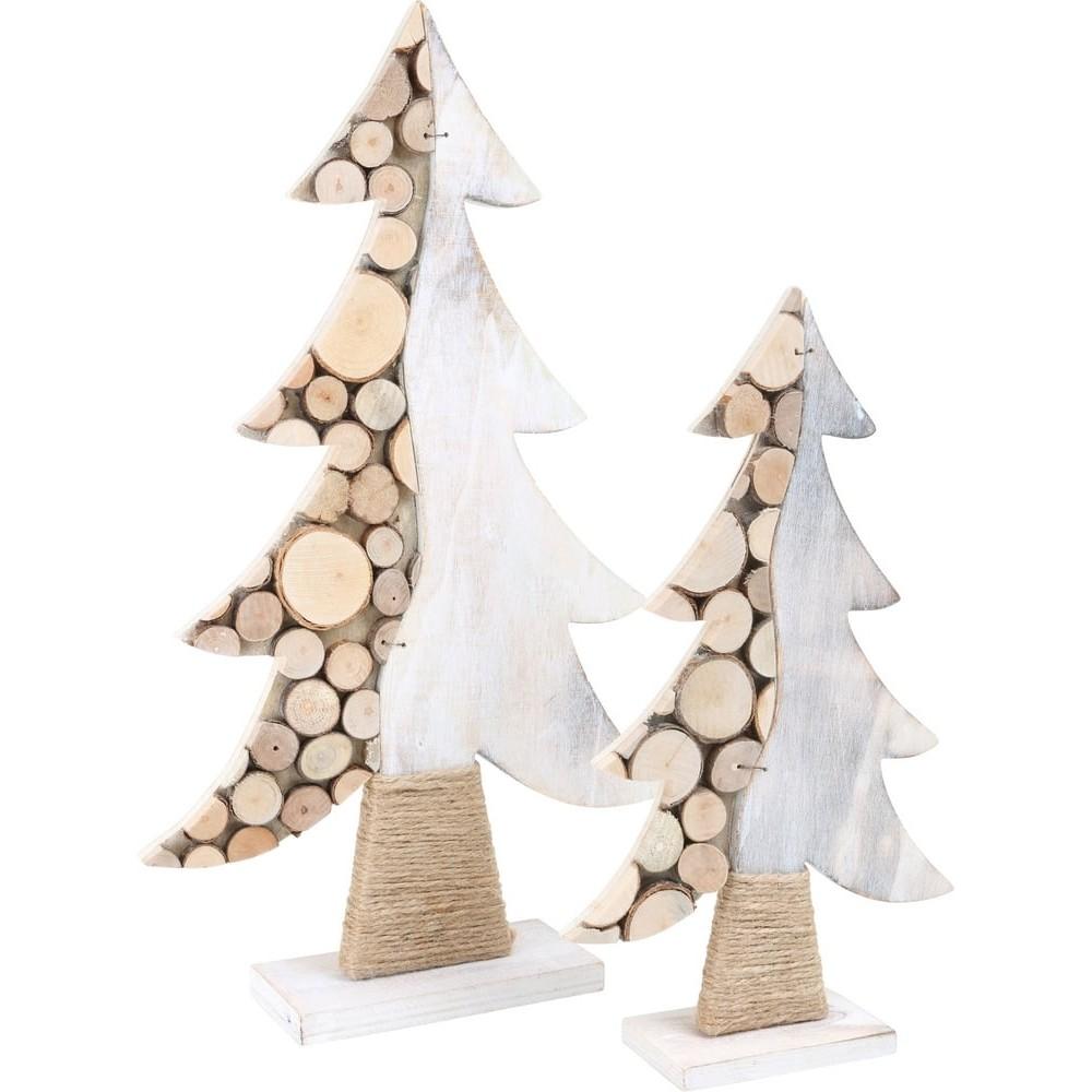 Sapin de déco en bois Rondins d'arbre
