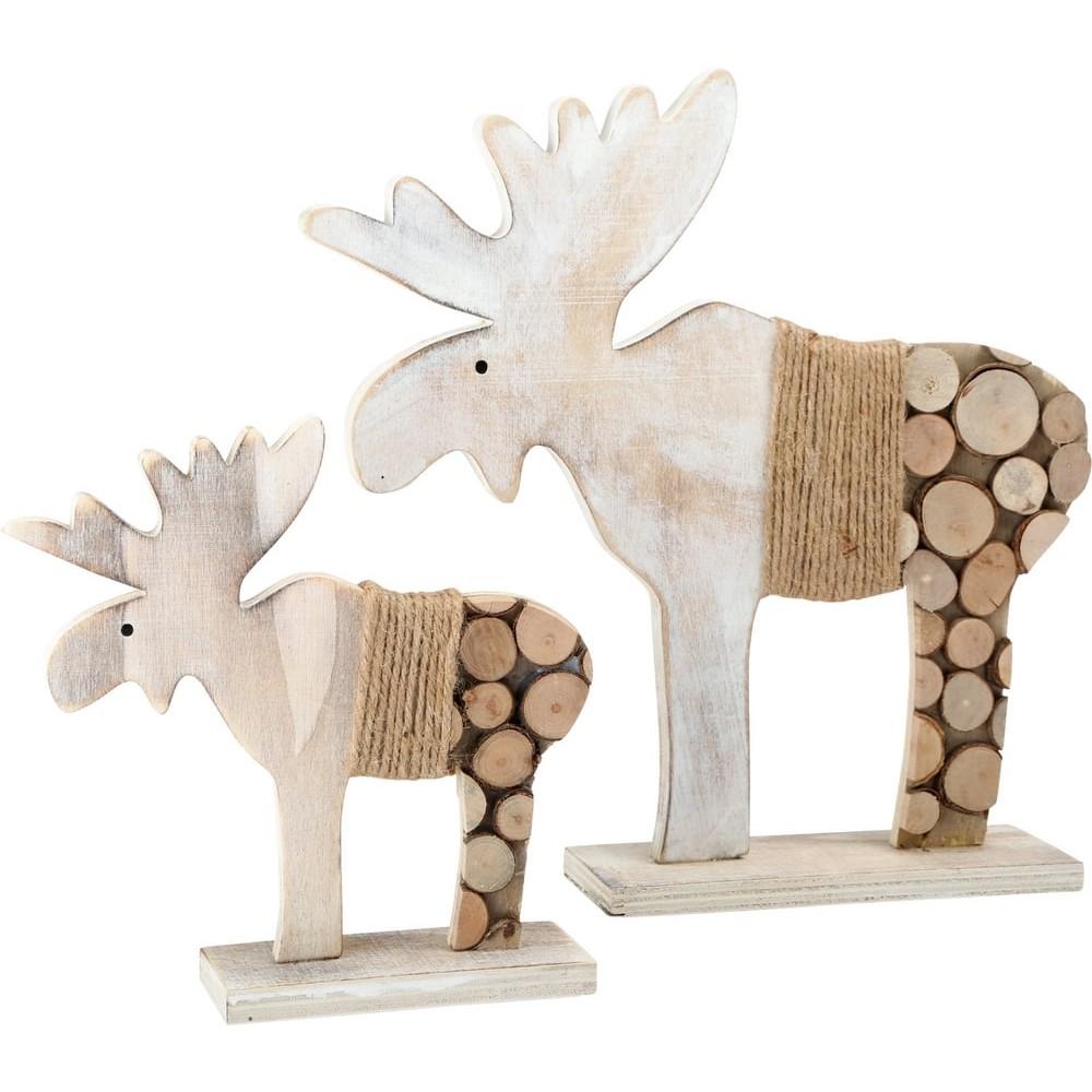 Élan de décoration en bois Rondins d'arbre