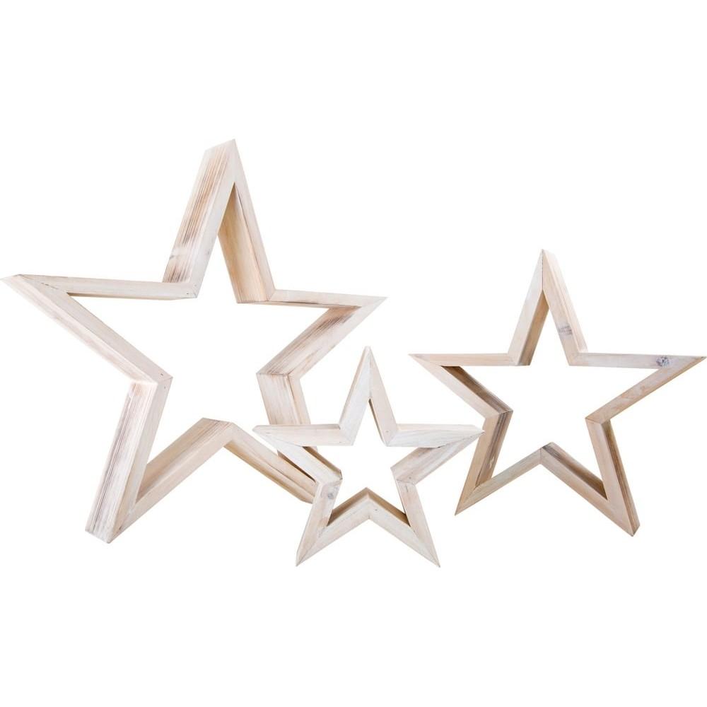 Objets de décoration en bois - Étoiles blanches