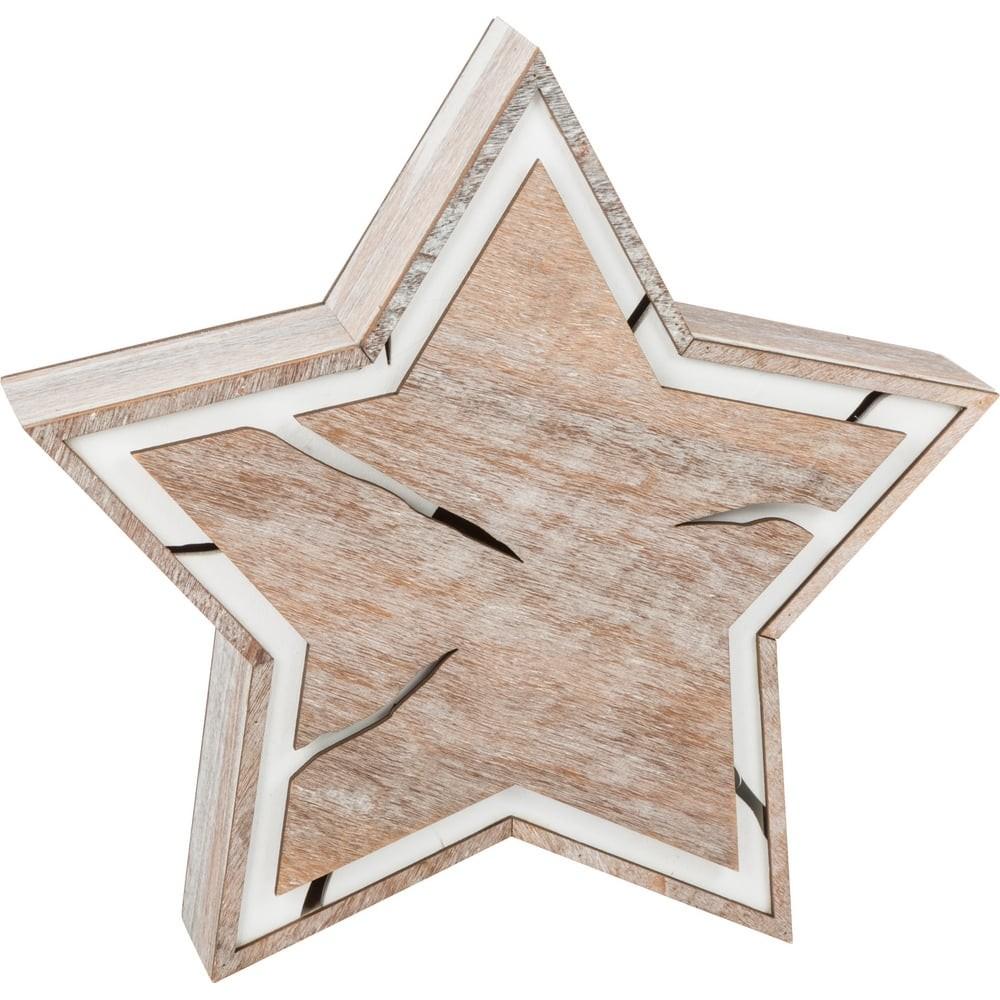Étoile lumineuse en bois - Design écorce petit format