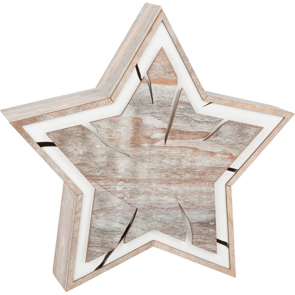 Étoile lumineuse en bois - Design écorce grand format