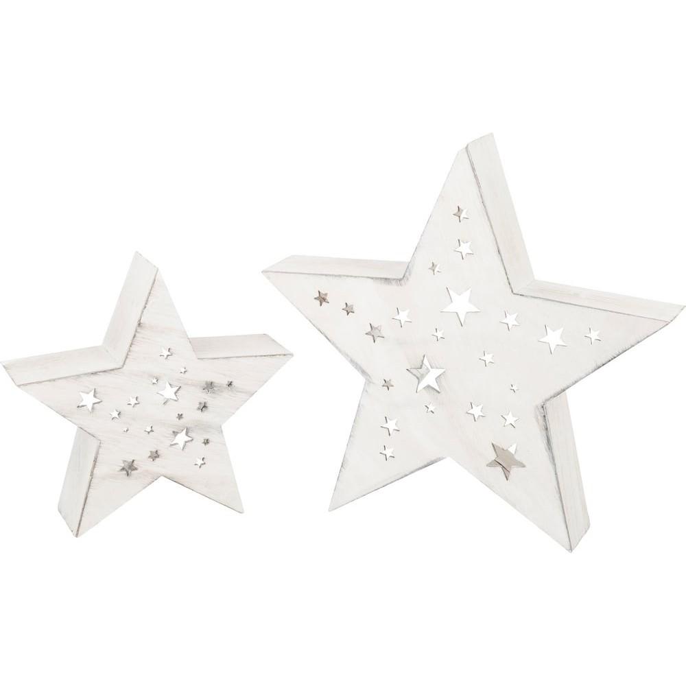 Étoile lumineuse en bois - Ciel nocturne