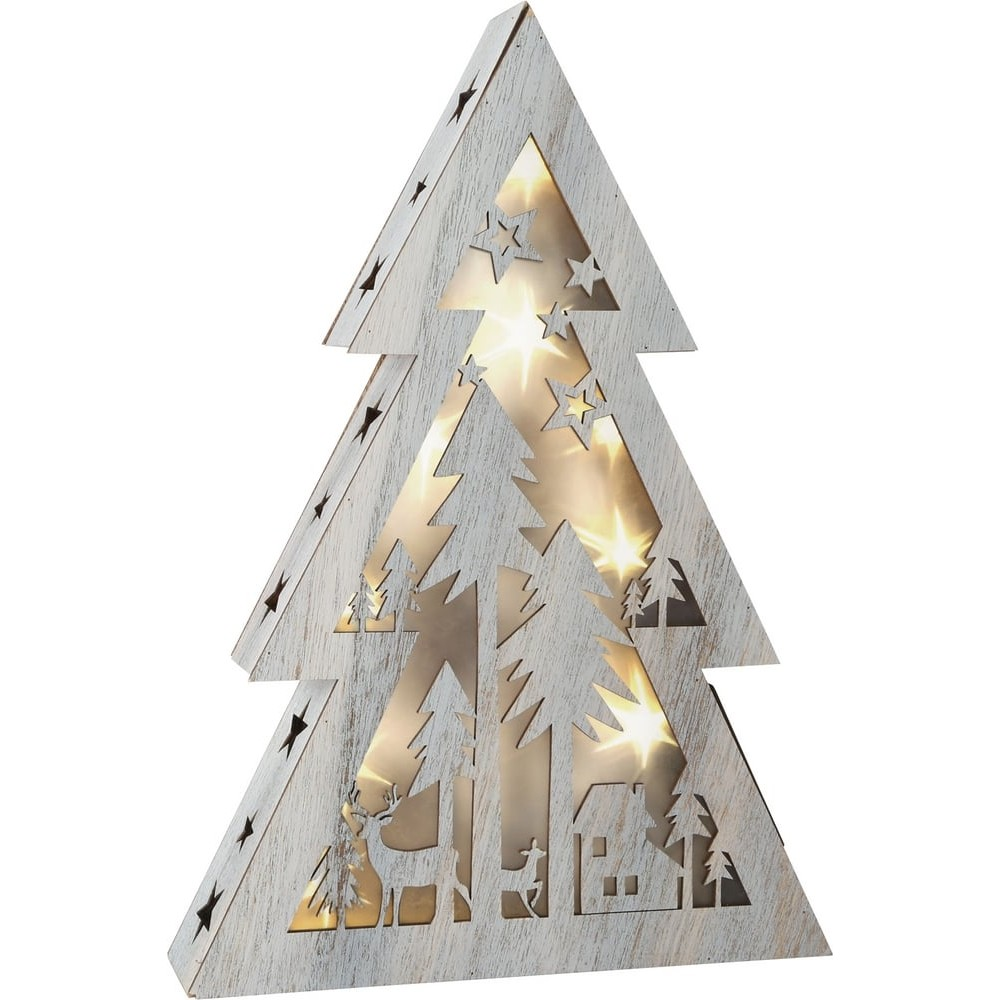 Sapin lumineux en bois - Shabby Chic petite taille