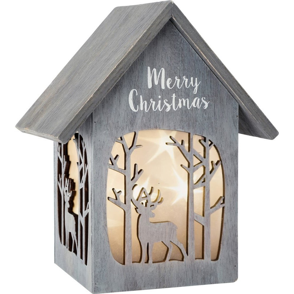 Maison lumineuse en bois - Merry Christmas Shabby Chic