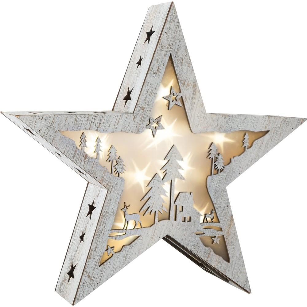 Étoile lumineuse avec motif en bois - Shabby Chic petite taille