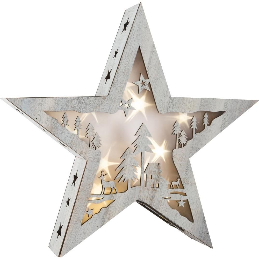 Étoile lumineuse avec motif en bois - Shabby Chic grande taille