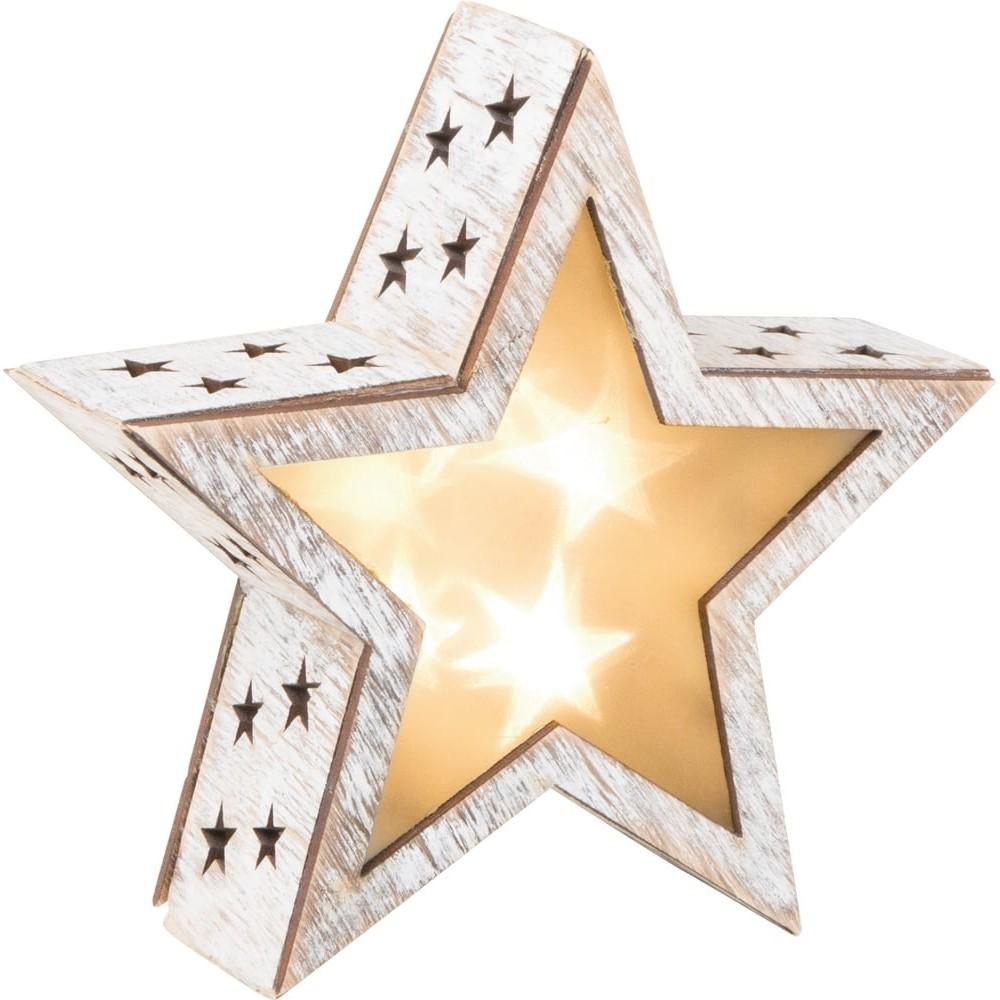 Étoile lumineuse en bois - Shabby Chic petit format