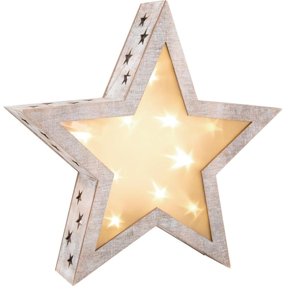 Étoile lumineuse en bois - Shabby Chic grand format