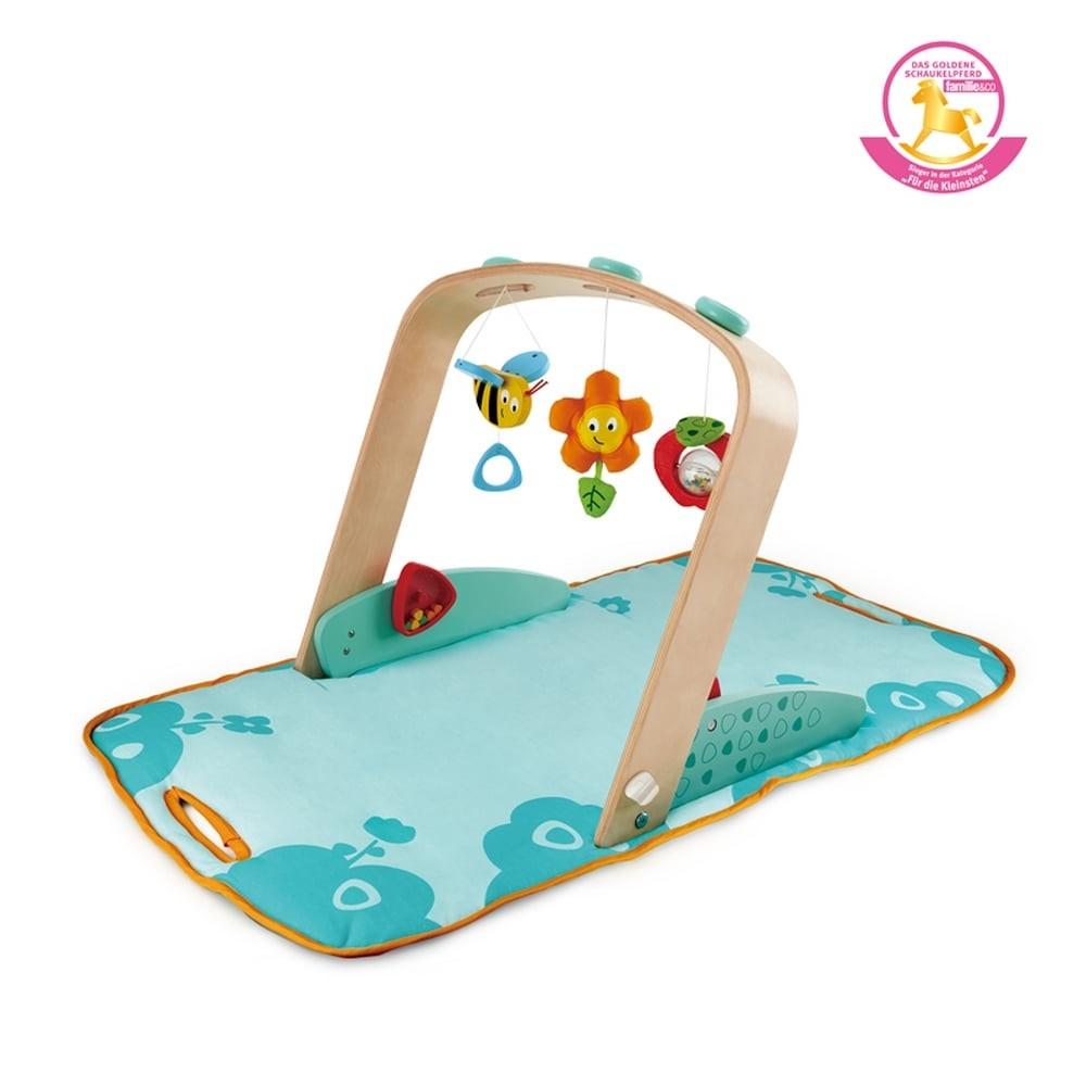 Portique d'éveil pour bébé en bois et tissu