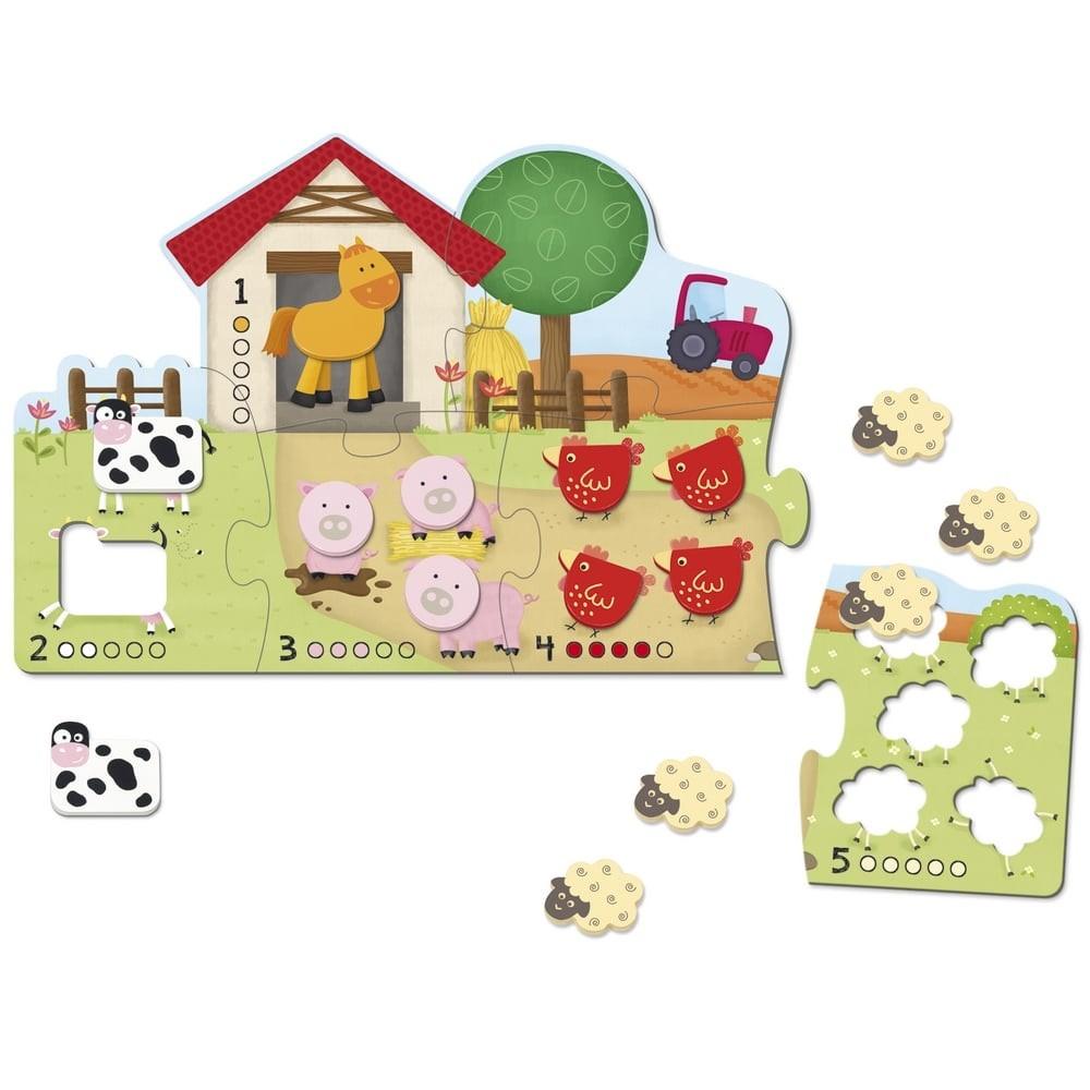 Puzzle en bois - Compter à la ferme