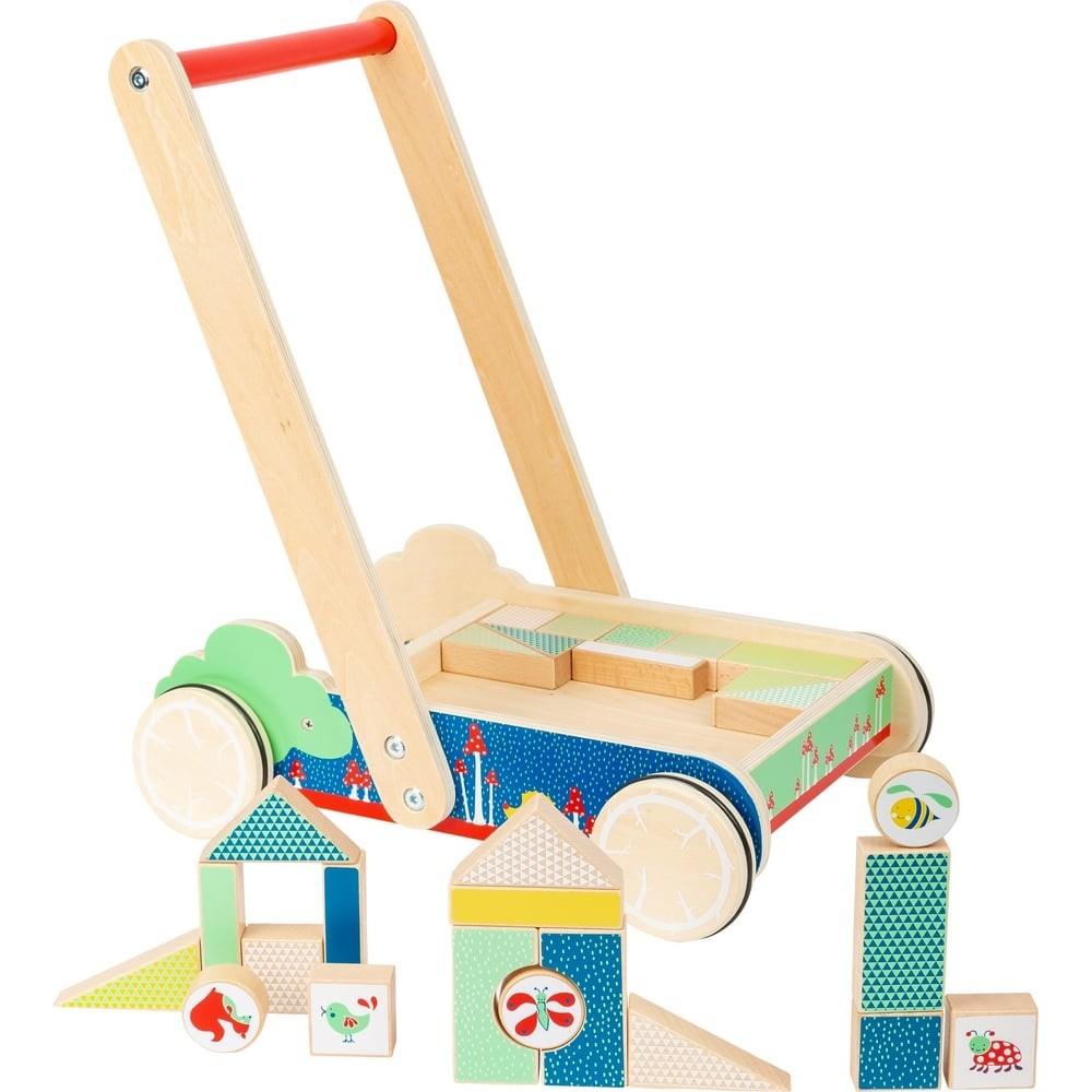 Chariot de marche avec blocs de construction en bois pour bébé