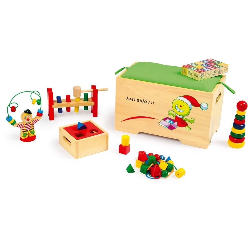 Coffre à jouets d'éveil en bois
