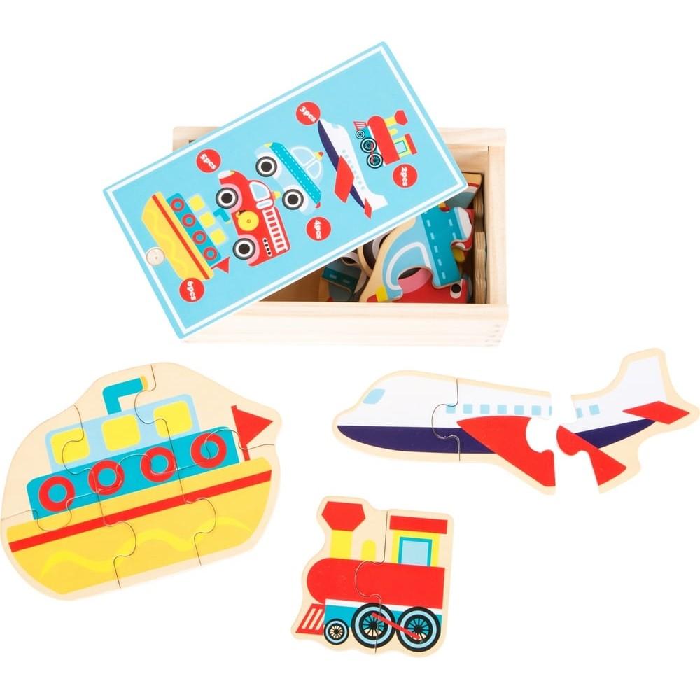 Coffret de 5 puzzles en bois - Transports en commun