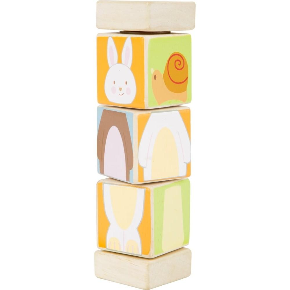 Jeu d'éveil - Jouet de motricité en bois - Cubes rotatif animaux