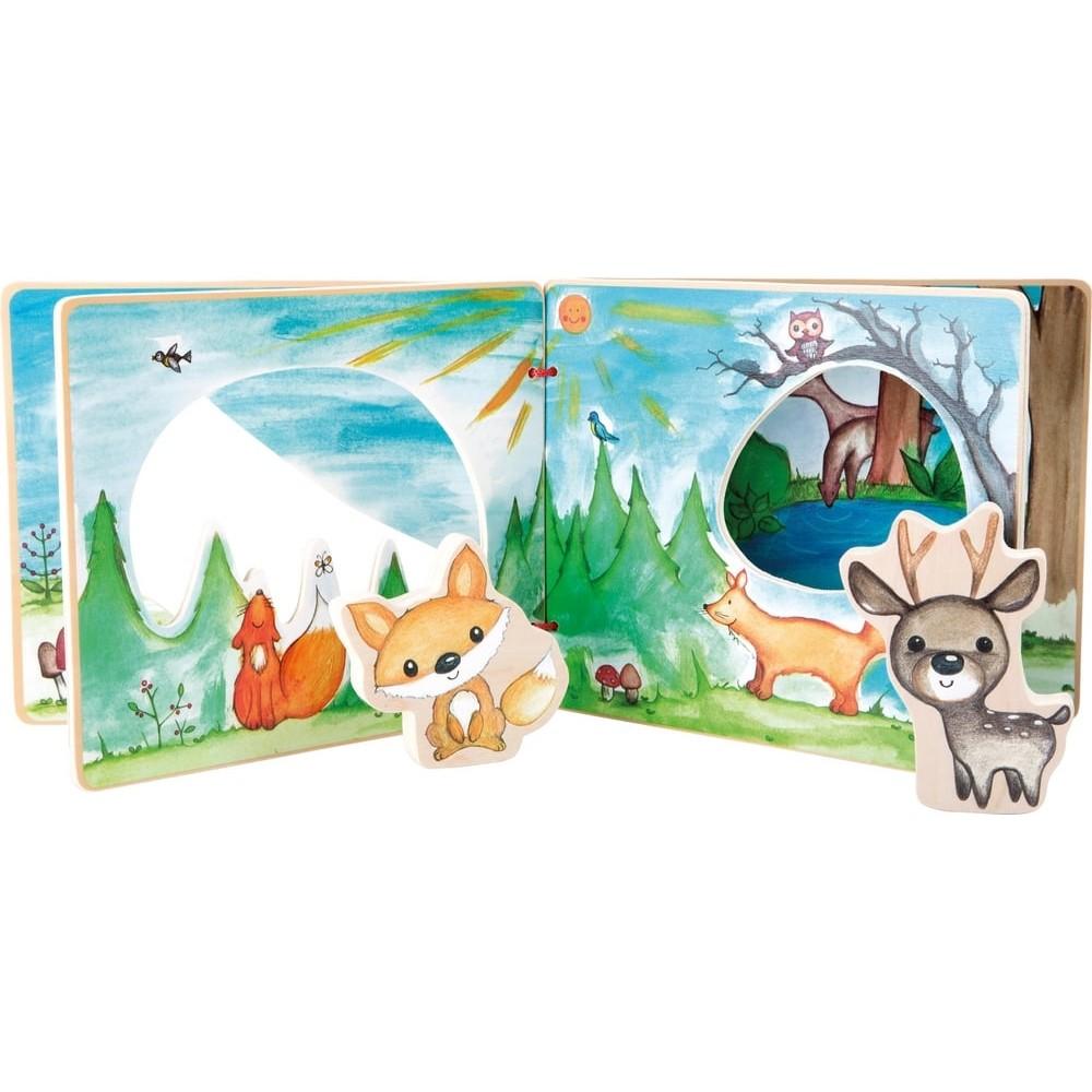 Livre d'éveil en bois pour bébé - Mes amis de la forêt