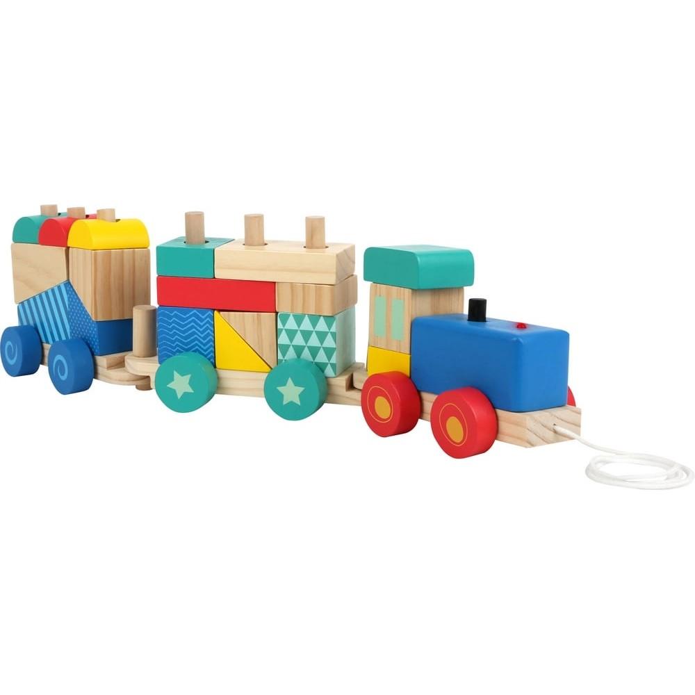 Train en bois multicolore avec son et lumière pour bébé