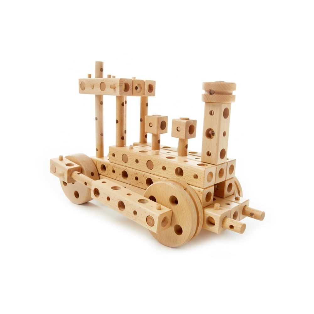 Jeu de construction à assembler - Locomotive en bois