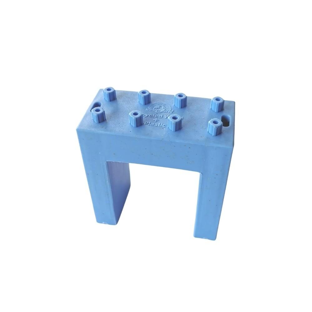 Briques bleues (16 pièces) en bois recyclé et plastique pour circuit à billes