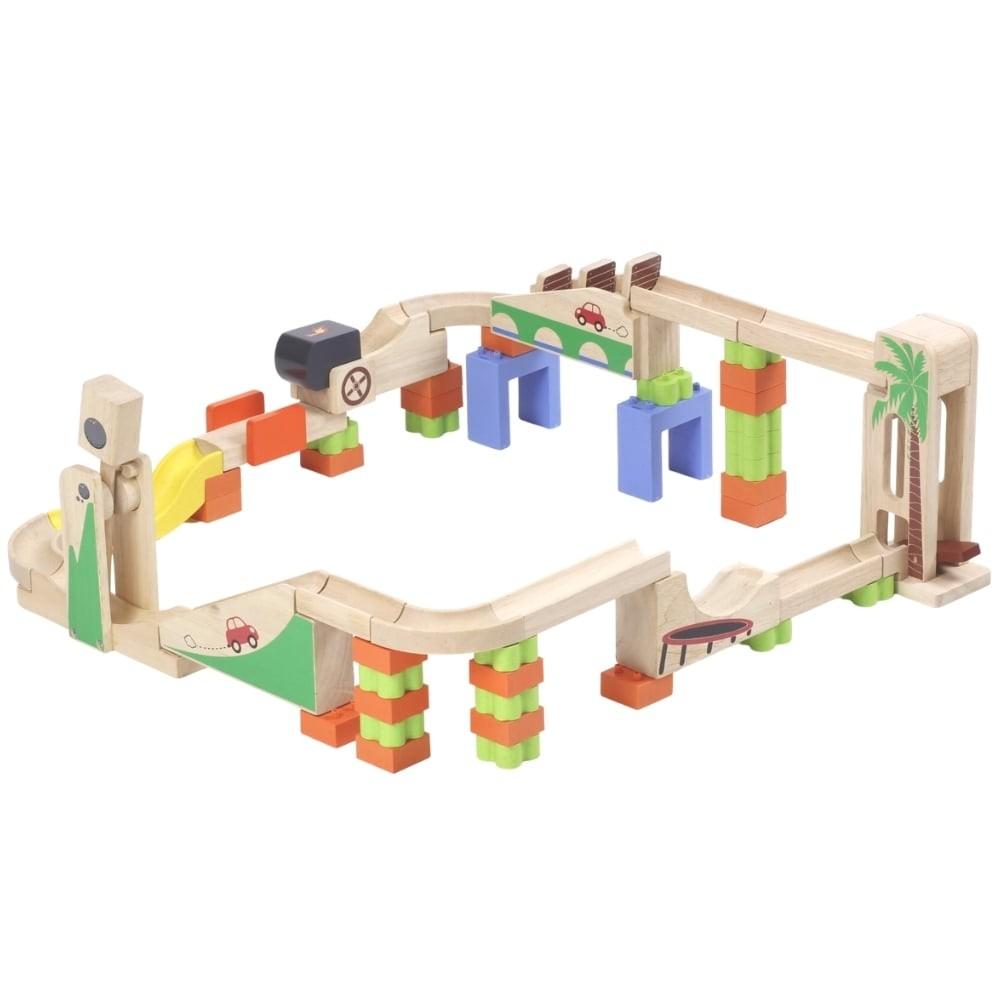 Pack circuit à billes en bois - Élévateur et Accélérateur
