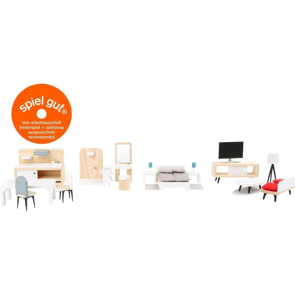 Accéssoires pour maison de poupée - Ensemble mobilier scandinave en bois