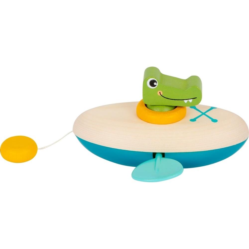Jeu d'eau en bois - Crocodile rameur