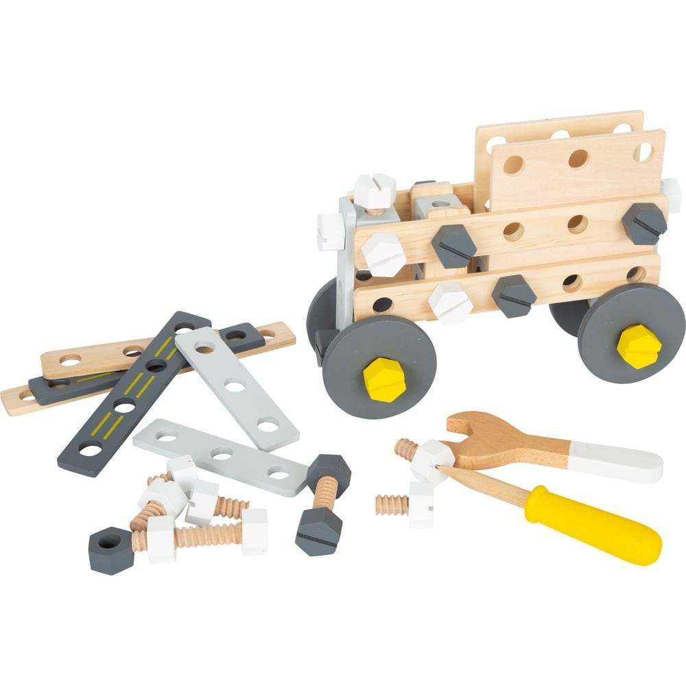 Kit de construction en bois couleurs gris-jaune