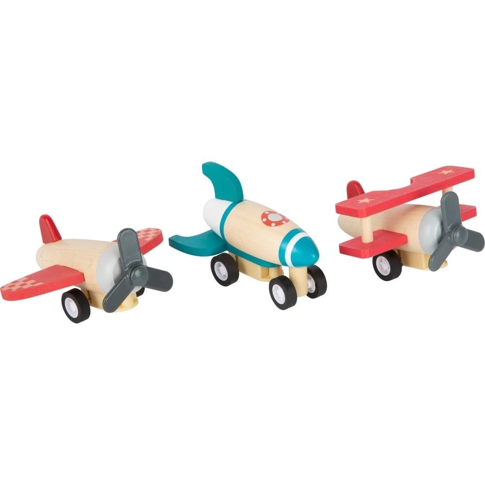 Lot de 3 avions à friction en bois