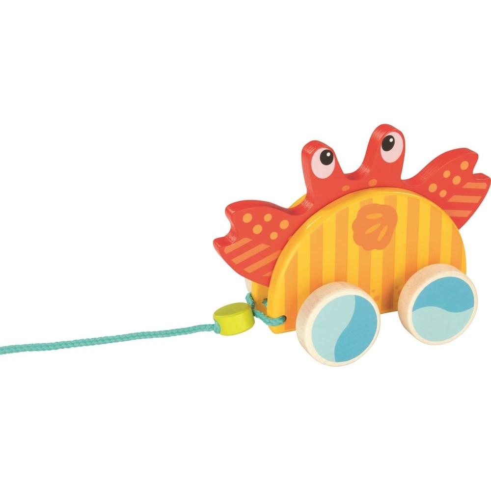 Crabe dansant à tirer en bois