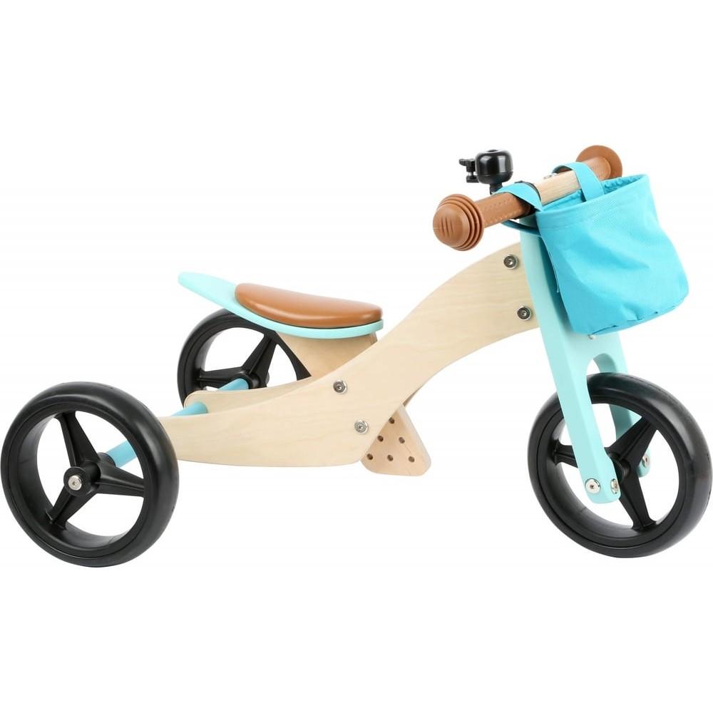 Tricycle et draisienne 2 en 1 en bois - Petite balade bleu turquoise